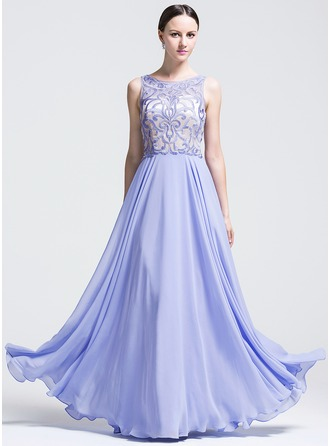 A-Line/Princess Scoop Neck Floor-Length Chiffon Evening Dress With Appliques Lace