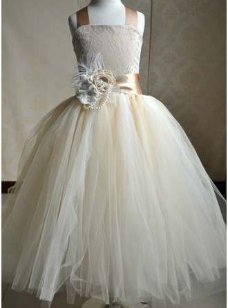 A-Line/Princess Square Neckline Floor-Length Tulle Flower Girl Dress With Flower(s) Bow(s)