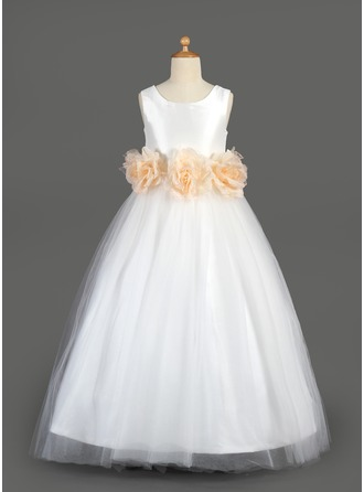 A-Line/Princess Scoop Neck Floor-Length Tulle Flower Girl Dress With Sash Flower(s)