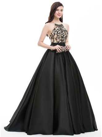 Ball-Gown Scoop Neck Sweep Train Satin Prom Dress With Beading Sequins