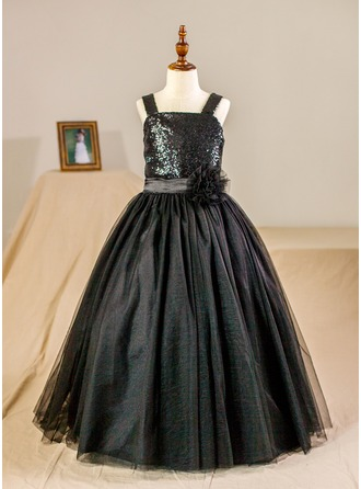 Ball Gown Floor-length Flower Girl Dress - Tulle Sleeveless Straps With Flower(s)/Sequins (Petticoat NOT included)