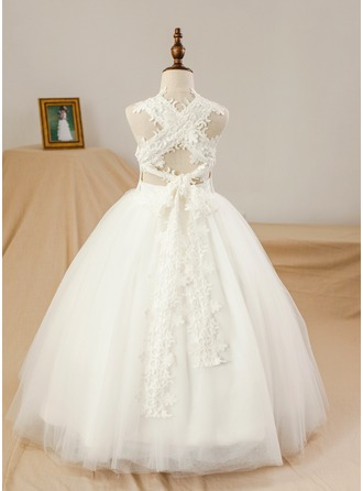 Ball Gown Floor-length Flower Girl Dress - Satin/Tulle Sleeveless Square Neckline (Petticoat NOT included)