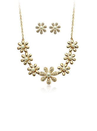 Flower Shaped Alloy Rhinestones With Imitation Pearl Jewelry Sets