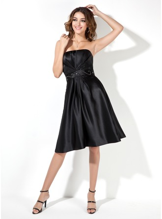 A-Line/Princess Strapless Knee-Length Satin Bridesmaid Dress With Ruffle Beading