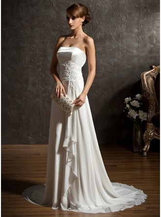 A-Line/Princess Sweetheart Sweep Train Chiffon Charmeuse Wedding Dress With Beading Appliques Lace Sequins Cascading Ruffles