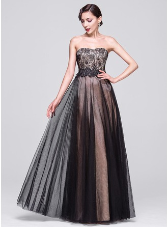 A-Line/Princess Sweetheart Floor-Length Tulle Lace Prom Dress With Beading