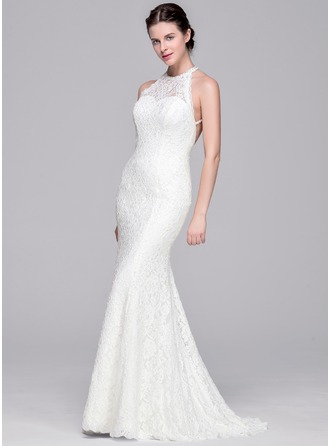 Trumpet/Mermaid Scoop Neck Sweep Train Lace Wedding Dress With Beading Sequins