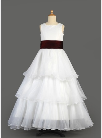 A-Line/Princess Scoop Neck Floor-Length Satin Organza Flower Girl Dress With Sash Cascading Ruffles