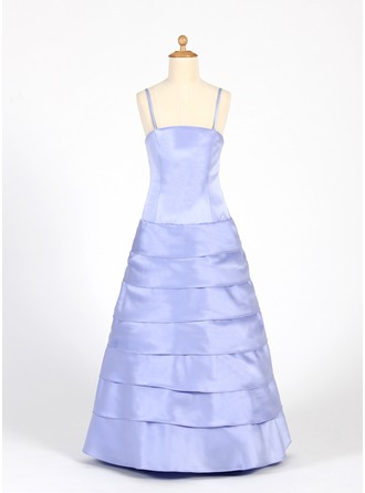 A-Line/Princess Floor-Length Satin Junior Bridesmaid Dress