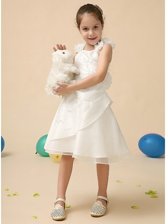 A-Line/Princess Square Neckline Knee-Length Satin Flower Girl Dress With Lace Beading Flower(s) Sequins Cascading Ruffles