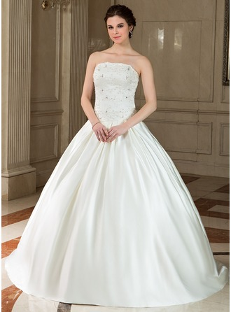 Ball-Gown Strapless Sweep Train Satin Wedding Dress With Lace Beading Sequins