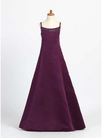 A-Line/Princess Scoop Neck Floor-Length Satin Junior Bridesmaid Dress With Beading