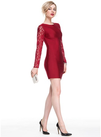 Sheath/Column Scoop Neck Short/Mini Lace Jersey Cocktail Dress