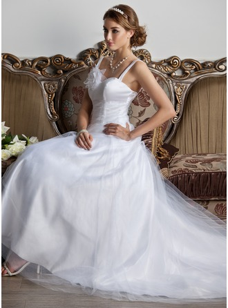 A-Line/Princess Sweetheart Court Train Tulle Wedding Dress With Ruffle Flower(s)