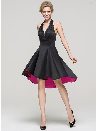 A-Line/Princess Halter Asymmetrical Satin Cocktail Dress With Lace Beading