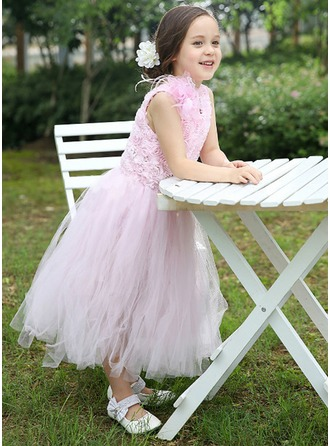 A-Line/Princess Scoop Neck Ankle-Length Tulle Flower Girl Dress With Flower(s)