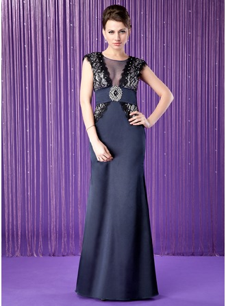 A-Line/Princess Scoop Neck Floor-Length Satin Mother of the Bride Dress With Lace Beading Sequins