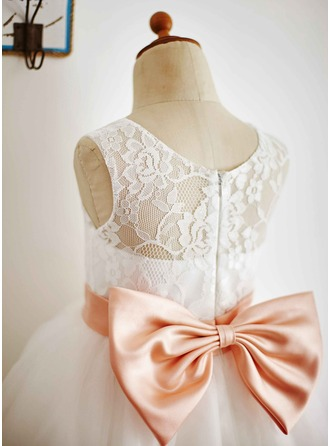 Ball-Gown Tulle/Lace Girl Dress With Bows