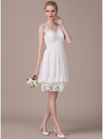 A-Line/Princess V-neck Knee-Length Chiffon Lace Wedding Dress With Ruffle