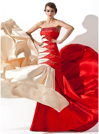 A-Line/Princess Strapless Court Train Charmeuse Prom Dress With Ruffle Beading Sequins