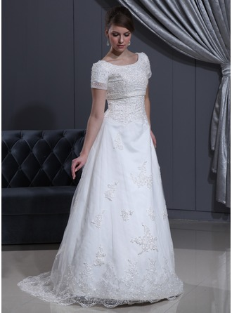 A-Line/Princess Scoop Neck Sweep Train Organza Satin Wedding Dress With Lace Beading