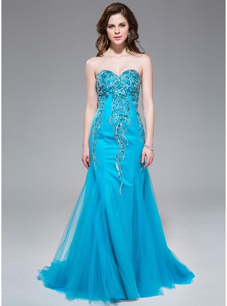 Trumpet/Mermaid Sweetheart Sweep Train Tulle Prom Dress With Beading Sequins