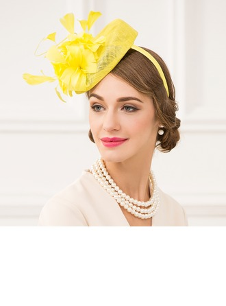 Ladies' Lovely Net Yarn With Feather Fascinators