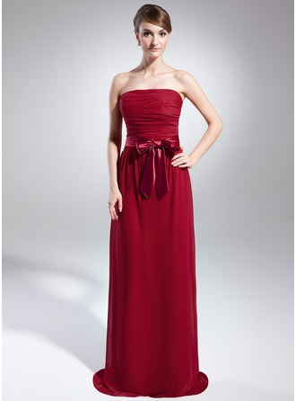 Sheath/Column Strapless Sweep Train Chiffon Charmeuse Holiday Dress With Ruffle Sash Bow(s)