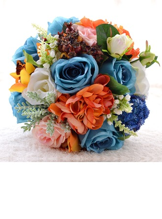 Attractive Round Satin/Imitation Pearl/Silk linen/Linen Rope Bridal Bouquets/Bridesmaid Bouquets