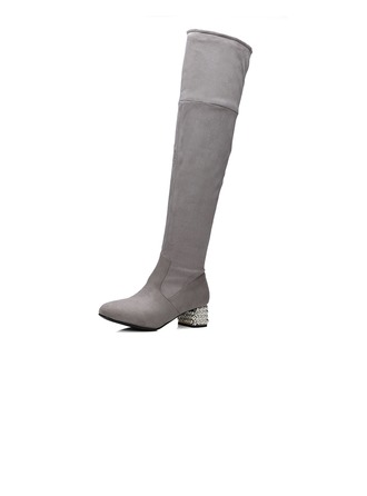 Women's Leatherette Chunky Heel Pumps Closed Toe Boots Over The Knee Boots With Jewelry Heel shoes