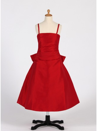 A-Line/Princess Tea-Length Taffeta Flower Girl Dress With Ruffle Bow(s)