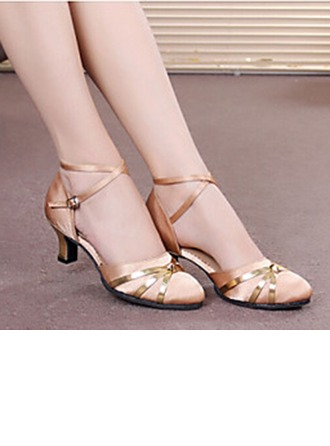 Women's Satin Heels Sandals Pumps Latin Modern Jazz Ballroom Salsa Party Tango With Ankle Strap Hollow-out Sequin Dance Shoes