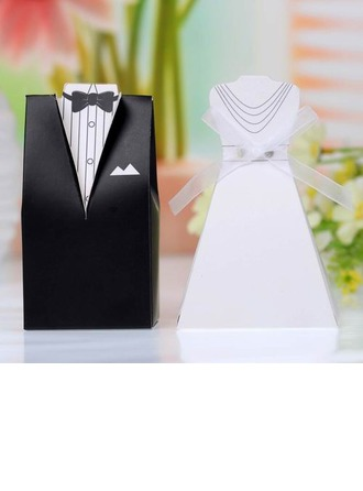 Tuxedo & Gown Favor Boxes With Ribbons (Set of 12)