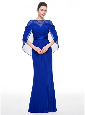 Trumpet/Mermaid Scoop Neck Floor-Length Chiffon Charmeuse Evening Dress With Lace
