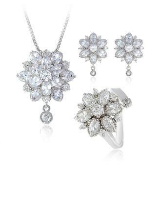 Snowflakes Shaped Zircon/Platinum Plated Ladies' Jewelry Sets
