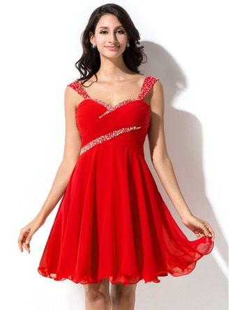 A-Line/Princess Sweetheart Short/Mini Chiffon Tulle Homecoming Dress With Ruffle Beading Sequins
