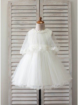 Princess Knee-length Flower Girl Dress - Satin/Tulle Sleeveless Scoop Neck With Lace/Appliques