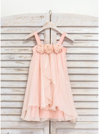 A-Line/Princess Tea-length Flower Girl Dress - Chiffon Sleeveless Shoulder straps With Flower(s)