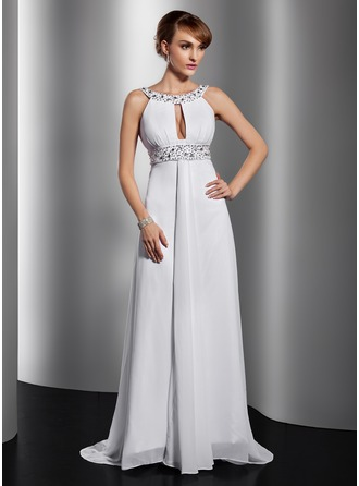 A-Line/Princess Scoop Neck Court Train Chiffon Evening Dress With Ruffle Beading Sequins