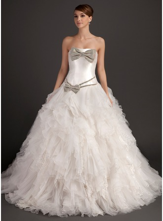Ball-Gown Strapless Chapel Train Organza Wedding Dress With Beading Bow(s) Cascading Ruffles