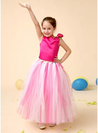 A-Line/Princess Scoop Neck Ankle-Length Charmeuse Tulle Flower Girl Dress With Flower(s) Bow(s)