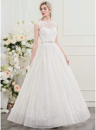 A-Line/Princess Scoop Neck Floor-Length Organza Lace Wedding Dress With Beading Sequins