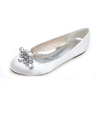 Women's Satin Flat Heel Closed Toe Flats With Rhinestone
