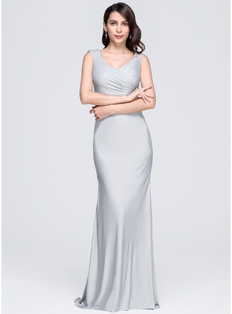 Trumpet/Mermaid V-neck Sweep Train Jersey Evening Dress With Ruffle Beading Appliques Lace Sequins