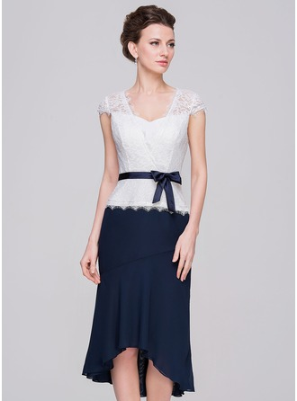 Sheath/Column Sweetheart Asymmetrical Chiffon Charmeuse Lace Mother of the Bride Dress With Bow(s)