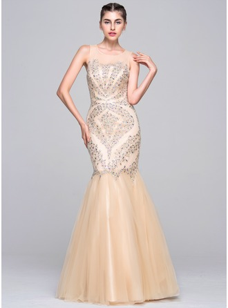 Trumpet/Mermaid Scoop Neck Floor-Length Tulle Evening Dress With Beading Sequins