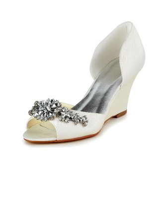 Women's Satin Wedge Heel Peep Toe Pumps With Rhinestone