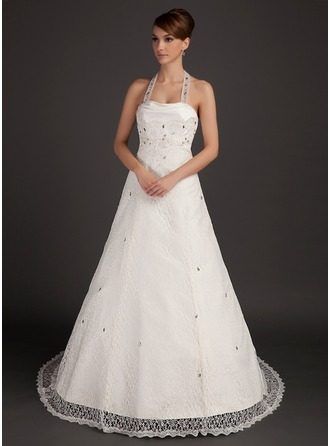 A-Line/Princess Halter Court Train Lace Wedding Dress With Ruffle Beading