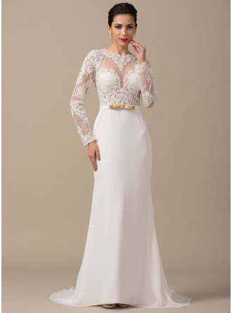 Trumpet/Mermaid Scoop Neck Court Train Chiffon Wedding Dress With Beading Appliques Lace Bow(s)
