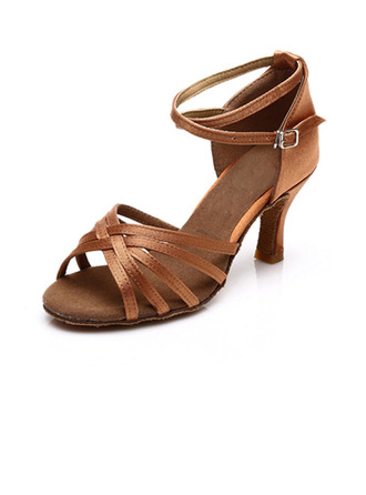 Women's Satin Sandals Latin With Ankle Strap Dance Shoes